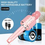 Aokeo K-1 Wireless Karaoke Bluetooth Microphone.3 in 1 Handheld Mic Karaoke Machine for Christmas Home Birthday Party for Kids and Adults.Compatible with Android & iOS Devices(Rose Gold) 3