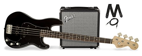 Squier by Fender PJ Electric Bass Guitar Beginner Pack with Rumble 15 Amplifier