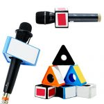Aysekone Portable Blue ABS Injection Molding Triangular Cube Shaped Interview Mic Microphone Logo Flag Station 2