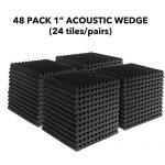 JBER 48 Pack Charcoal Acoustic Panels Studio Foam Wedges Fireproof Soundproof Padding Wall Panels 1″ X 12″ X 12″ 2