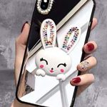 Case for iPhone XR 6.1 Inch,Aulzaju iPhone XR Bling Cute Rabbit Ring Stand Case Hard PC Back Soft Raised TPU Edge Marble Design Cover for iPhone XR for Girls Women Kids-Mirror 1