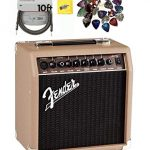 Fender Acoustasonic 15 Acoustic Guitar Amplifier – Brown and Wheat Bundle with Instrument Cable, 24 Picks, and Austin Bazaar Polishing Cloth