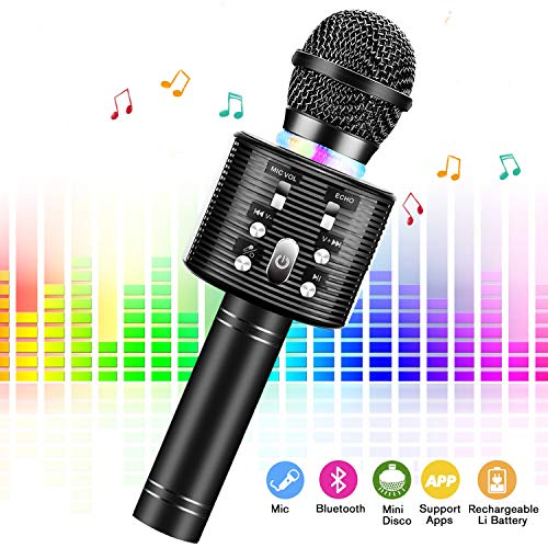 Karaoke Microphone for Kids,FISHOAKY 4 in 1 Portable Wireless Bluetooth
