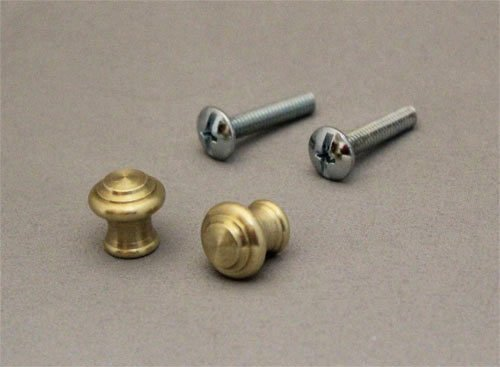 Piano Desk Knobs Solid Brass with Screws - 1 Pair - Furniture Repair