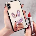 Case for iPhone XR 6.1 Inch,Aulzaju iPhone XR Bling Cute Rabbit Ring Stand Case Hard PC Back Soft Raised TPU Edge Marble Design Cover for iPhone XR for Girls Women Kids-Mirror 2