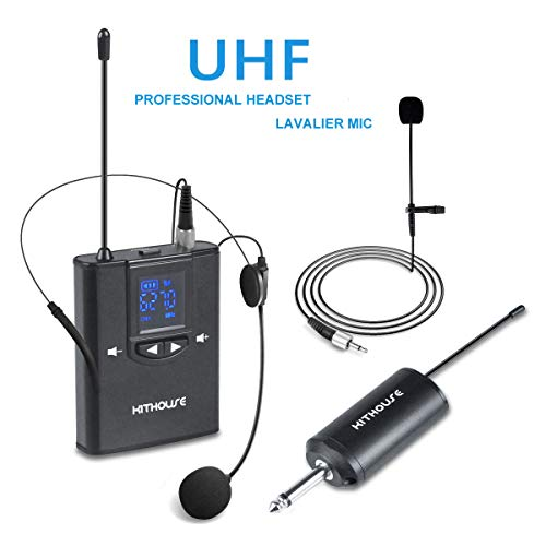 Kithouse 2-in-1 UHF Wireless Microphone Headset Lavalier Lapel Microphone
