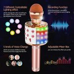 Wireless Bluetooth Karaoke Microphone with Multi-color LED lights, Tesoky 4 in 1 Portable Handheld Karaoke Machine Mic Hi-Fi Microphone Speaker System for Kids Adults, for Android/iPhone/PC 1