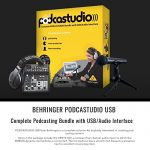 Behringer PODCASTUDIO USB Complete Podcasting Kit w/USB Audio Interface and Studio Monitors Deluxe Accessory Bundle 1
