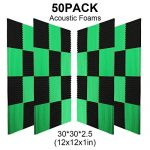 50 Pack -Black Acoustic Panels Studio Foam Wedges