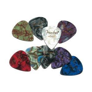 Fender Premium Celluloid Guitar Picks, 12 Pack, Abalone, Heavy