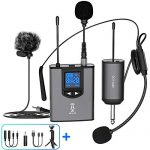 UHF Wireless Microphone System Headset Mic/Stand Mic/Lavalier Lapel Mic with Rechargeable Bodypack Transmitter & Receiver 1/4″ Output for iPhone, PA speaker, DSLR Camera, Recording, Teaching