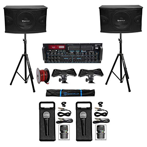"Rockville Karaoke Machine System w/Pair 10"" Speakers+Bluetooth Mixer"