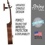 String Swing Ukulele Wall Mount Stand for Mandolin Ukele – Concert Pineapple Soprano Tenor and Baritone Compatible – Case Alternative Kit for Home or Studio – Black Walnut Hardwood CC01UK-BW 2