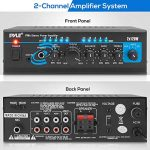 Home Audio Power Amplifier System – 2X120W Mini Dual Channel Mixer Sound Stereo Receiver Box w/ RCA, AUX, Mic Input – For Amplified Speakers, PA, CD Player, Theater, Studio Use – Pyle PTA4 1
