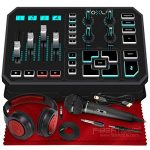 TC-Helicon GO XLR 4-channel USB Streaming Mixer with Voice FX, Effects and Sampler + SR360 Over-Ear Dynamic Stereo Headphones, Audio-Technica ATR1100 Handheld Microphone & Accessory Bundle