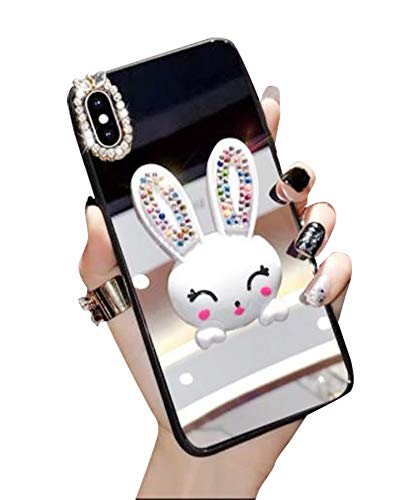 Case for iPhone XR 6.1 Inch,Aulzaju iPhone XR Bling Cute Rabbit Ring Stand Case