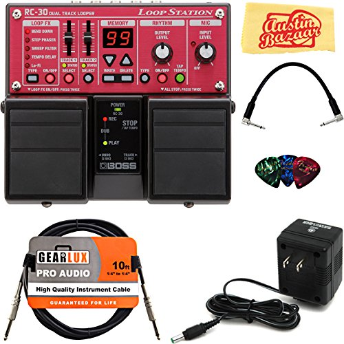 Boss RC-30 Loop Station Bundle with Power Supply, Instrument Cable