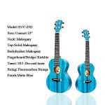Enya Concert Ukulele 23 Inch Blue Solid Mahogany Top with Ukulele Starter Kit Includes Online Lessons, Tuner,Case, Strap, Strings, Capo, Sand Shaker, Pick,Polish Cloth (EUC-25D BU) 1