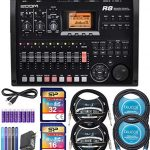 Zoom R8 Multitrack Recorder Bundle with 16GB and 32GB Class 10 SDHC SD Cards, Blucoil 2-Pack of 10-FT Straight Instrument Cables (1/4in), 2x 10′ XLR Cables, 5x Cable Ties, and 8 AA Batteries