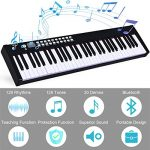 Costzon BX-II 61-Key Portable Touch Sensitive Digital Piano, Electric Keyboard W/MIDI & Bluetooth, Dynamics Adjustment, Power Supply, Sustain Pedal, Portable Carrying Bag, for Kids Adults (Black) 2