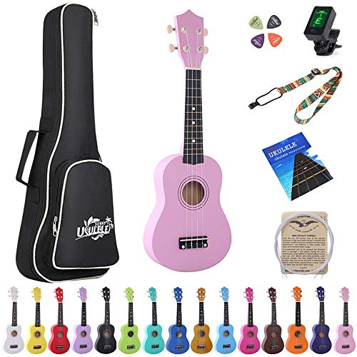 Esound 21 inch Soprano Ukulele Basswood Acoustic Mini Guitar for Beginner Kid