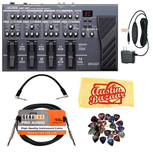 Boss Guitar Multiple Effects Bundle with Power Supply, Instrument Cable