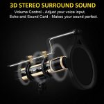 USB Microphone, ZealSound Metal Condenser Recording Microphone For Laptop MAC Windows Computer And Phone w/Stand for ASMR Garageband Smule Stream & Youtube Video Studio Voice Overs Broadcast (Gold) 2