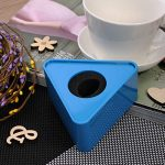 Aysekone Portable Blue ABS Injection Molding Triangular Cube Shaped Interview Mic Microphone Logo Flag Station 1