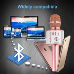 Ankuka Bluetooth Karaoke Microphone, 3 in 1 Multi-Function Handheld Wireless Karaoke Machine for Kids, Portable Mic Speaker Home, Party Singing Compatible with iPhone/Android/PC (Rose Gold) 3