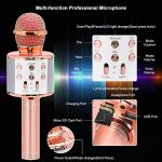 Verkstar Wireless Bluetooth 4 in 1 Karaoke Microphone, Portable Handheld Karaoke Machine Speaker Birthday Home Party Player with Record Function Christmas for Android & iOS All Devices (Rose Gold) 3