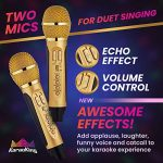 KaraoKing New 2020 Karaoke Machine – for Adults and Kids – 2 Wireless Karaoke Microphone, SD Card, USB, Bluetooth Compatible, LED Lights – Home, Bachelor Party, Picnic, Outdoor/Indoor [G301 Gold] 2