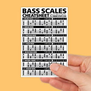 Bass Scales Cheatsheet Laminated and Double Sided Pocket Reference