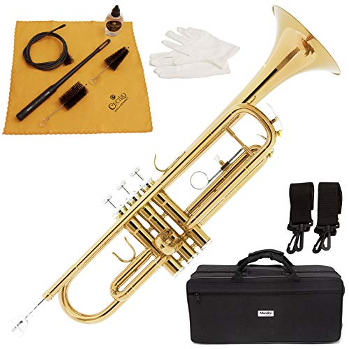 Mendini by Cecilio Gold Brass Standard Bb Trumpet with Hard Case