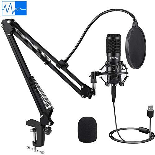USB Condenser Microphone, IKEDON 192KHZ/24Bit Plug & Play PC Streaming Mic