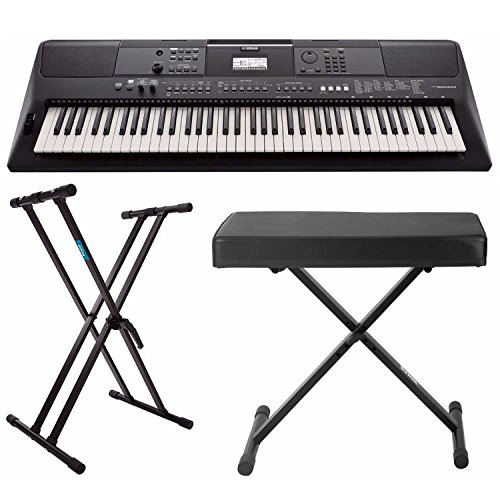 Yamaha 76-key Portable Keyboard with Power Adapter, Knox Double X Keyboard
