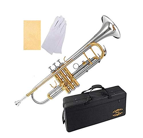 Glory Brass Bb Trumpet with Pro Case +Care Kit,Nickel Plated Intermediate