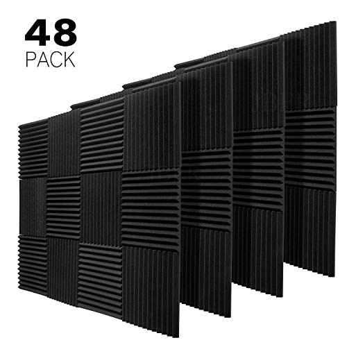 JBER 48 Pack Charcoal Acoustic Panels Studio Foam Wedges Fireproof Soundproof