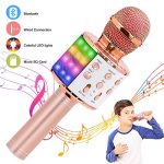 Verkstar Wireless Bluetooth 4 in 1 Karaoke Microphone, Portable Handheld Karaoke Machine Speaker Birthday Home Party Player with Record Function Christmas for Android & iOS All Devices (Rose Gold)