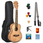 Classical Ukulele Kit Tiger Flame Okoume Wood for Beginner and Professional Player By Kmise (26 Inch Tenor)