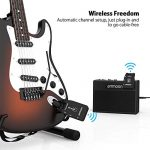 ammoon Wireless Guitar System 2.4G Rechargeable 6 Channels Audio Transmitter Receiver for Electric Guitar Bass 2
