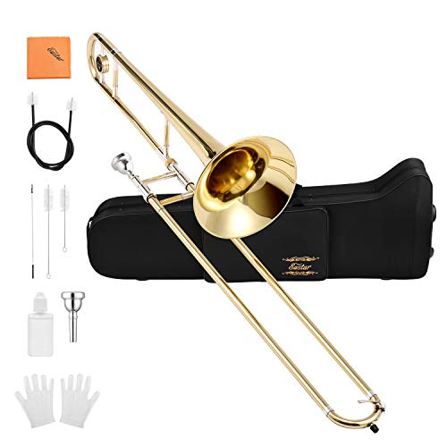 Eastar Bb Tenor Slide Trombone Brass with Hard Case Mouthpiece Cleaning