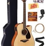 Yamaha FGX800C Solid Top Folk Acoustic-Electric Guitar – Natural Bundle with Hard Case, Tuner, Strings, Strap, Picks, Austin Bazaar Instructional DVD, and Polishing Cloth