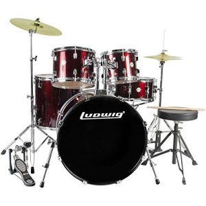 Ludwig Accent Drive 5-Pc Drum Set, Red Foil - Includes: Hardware