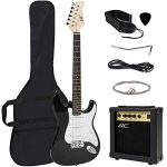 Best Choice Products 39in Full Size Beginner Electric Guitar Starter Kit w/Case, Strap, 10W Amp, Strings, Pick, Tremolo Bar (Black)