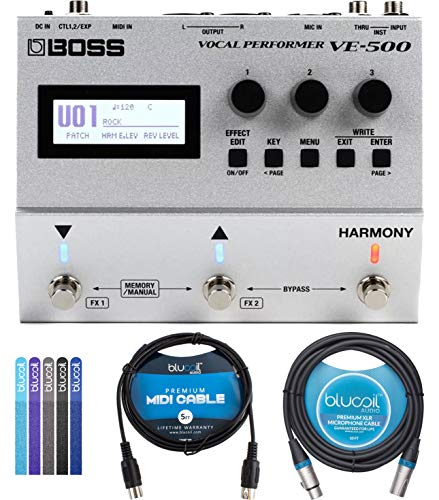 BOSS VE-500 Vocal Performer Multi-Effects Pedal Bundle