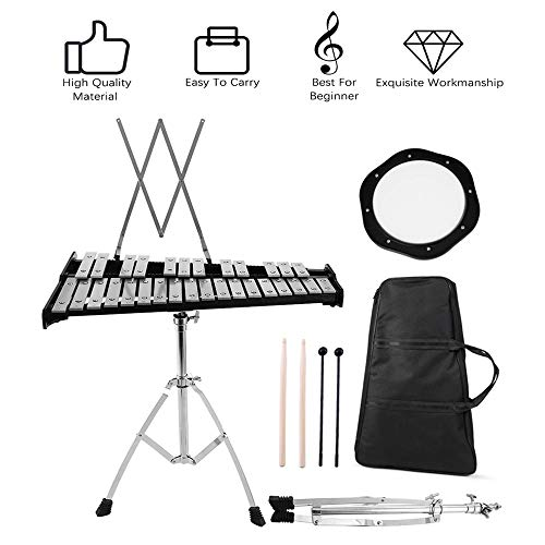 Percussion Glockenspiel Bell Kit,30 Notes Fodable Educational Glockenspiel Bell