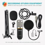 ZINGYOU Condenser Microphone Bundle, BM-800 Mic Kit with Adjustable Mic Suspension Scissor Arm, Shock Mount and Double-Layer Pop Filter for Studio Recording & Brocasting (BM-800 Microphone Bundle) 1
