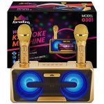 KaraoKing New 2020 Karaoke Machine – for Adults and Kids – 2 Wireless Karaoke Microphone, SD Card, USB, Bluetooth Compatible, LED Lights – Home, Bachelor Party, Picnic, Outdoor/Indoor [G301 Gold]