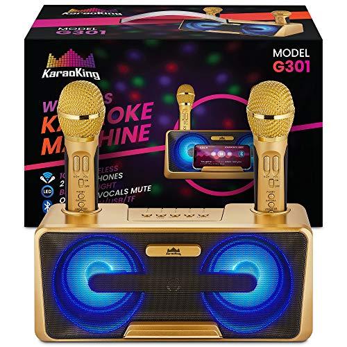 KaraoKing New 2020 Karaoke Machine - for Adults and Kids - 2 Wireless Karaoke