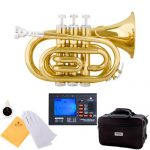 Mendini MPT Brass Bb Pocket Trumpet + Tuner, Case, Mouthpiece, More (Gold)